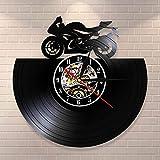 UIOLK Reloj de Pared con Disco de Vinilo de Motocicleta Japonesa decoración del hogar Retro Reloj Colgante de Pared de Motocicleta Regalo para fanáticos de la Motocicleta