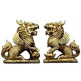 Estatua Impresionante Home Jardín Ornamento Escultura Decoración Feng Shui Conjunto de Dos latones de Oro Chi Lin/Estatua de Kylin, Lucky Kirin/Unicorn Aguants, Prosperidad de la Riqueza Estatua D