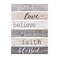 P. Graham Dunn Grateful Love Believe Thankful Faith Blessed Grey 17 x 24 Inch Solid Pine Wood Skid Wall Plaque Sign