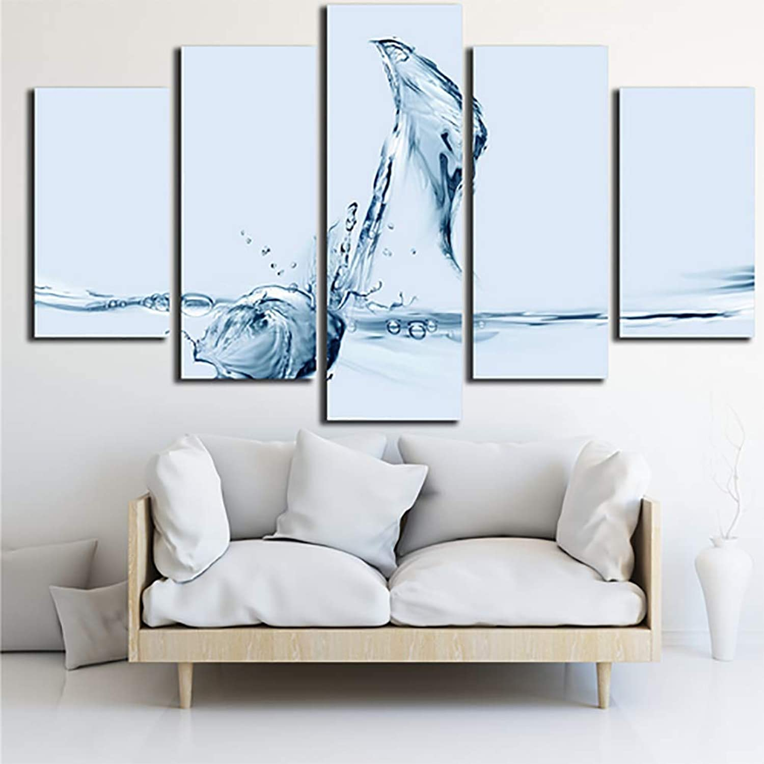 Print 5 Panel Water Note Pictures Modern Wall Art Painting Poster