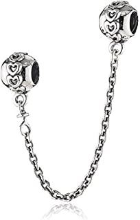 Romántico Amor Embossed Hearts Stopper Safety Chain 925 Sterling Silver Rose Clear CZ Bead