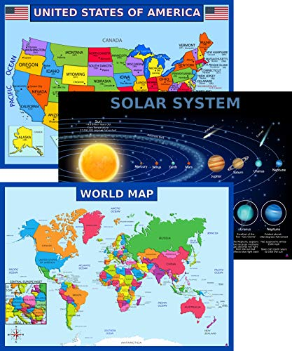 World Map Poster, United States USA Map, Solar System Posters for Kids - Laminated, Size 14x19.5 in.- Educational Posters for Elementary Classroom Decorations, Teacher Supplies (Maps and Solar)