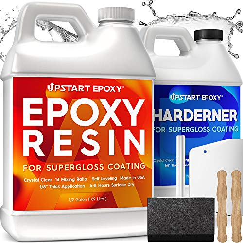 Upstart Epoxy Resin Kit DIY - Made in USA - Ultra Crystal Clear 2 Part Formulation - Perfect Casting Resin for Counter, Table Top, Wood Bar Top, Art, Craft, Jewelry & More - 1 Gallon Kit