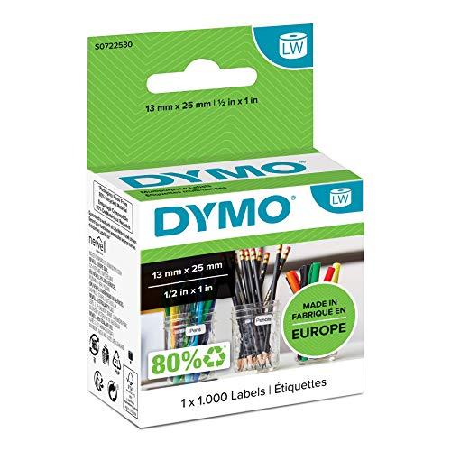 Dymo S0722530 Thermoetikett für Etikettendrucker Vielzwecketikett 13 x 25 mm 1000 Stück, weiß