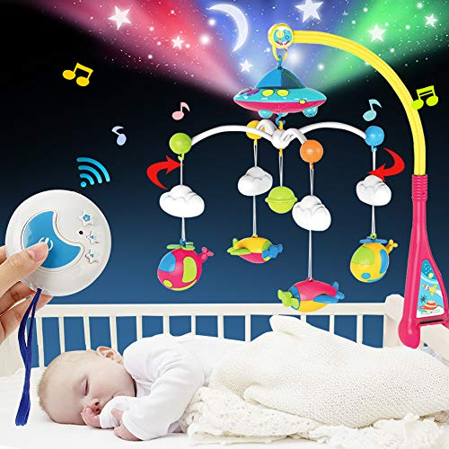 BOBXIN Baby Mobile for Crib, Crib Mobile with Projector and 108 Melodies Music, Crib Toys with Remote Control and Hanging Rattles Rotating,Gift for Newborn and Baby Boy Girl Sleep