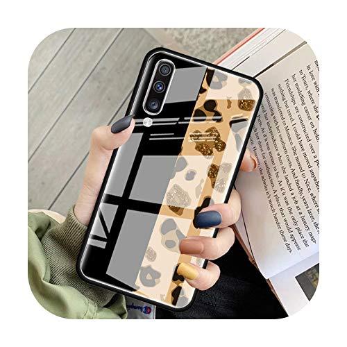 Phone cover Funda de cristal con estampado de leopardo de tigre para Samsung Galaxy A70, A50, A51, M51, A20, A10, A11, A31, A71, M31, M21, M11, Cubiertas de teléfono templado T05, para Samsung A01