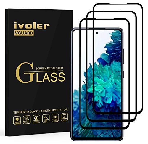 ivoler Pack de 3 Verre Trempé pour Samsung Galaxy S20 FE (5G), [Couverture Complète] Film Protection écran en Noir -Anti Rayures sans Bulles d'air, Ultra résistant dureté 9H