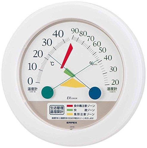 エンペックス気象計 温度湿度計 生活管理温湿度計 壁掛け用 日本製 クリアホワイト TM-2461