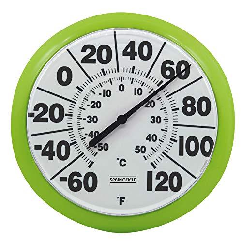 "Springfield 8"" Indoor/Outdoor Dial Thermometer, Green -  Lifetime Brands Inc., 5274241"