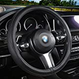 Car Steering Wheel Cover Microfiber Leather for Men and Women. Universal Fit 14 1/2 to15 Inch Automotive Protector- Breathable, Anti Slip, Odorless(Black with White Lines)