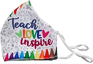 Beppter Crayons Fashion Reusable Washable Cotton Covering with Filter Slot Inside Layer, Teacher Love inspive