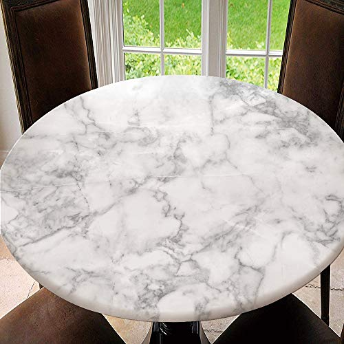 SUPNON Elastic Edged Table Cover, Round Tables Tablecloth Table Cloth, Marble Texture Waterproof Table Pads No0455 Tablecloth Size 40'(Fit for 28.2'-32.1' Table)