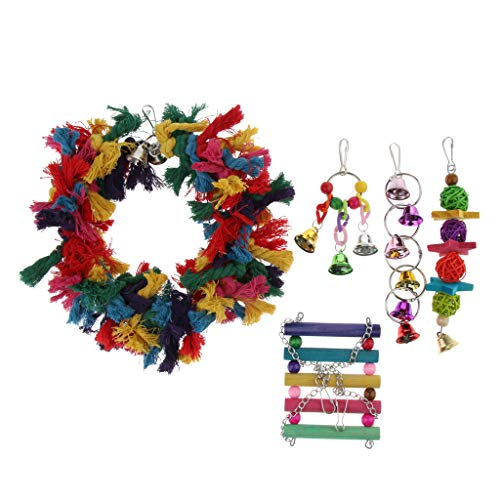 Baoblaze Juego de Juguetes de Jaula para Mascotas Pequeñas - Columpio de Bolas de Campanas de Colores para Hámster Bunny Ferret