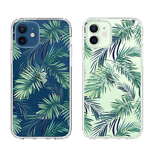 Obbii Clear Case Compatible with iPhone 12 Mini (5.4inch) Palm Tree Leaves Unique Design Hard Shell Solid PC Back Soft TPU Bumper Protective Case for iPhone 12 Mini 5.4' (2020)