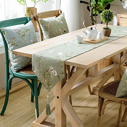Tischläufer Mit Mats Green Coffee Table Verziert Mit Fransen Baumwolle Und Leinen Stoff Rustikaler Stil Tischdecke For Küche (Color : Green, Size : 30 * 240cm)
