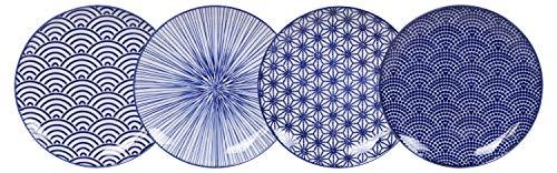 TOKYO design studio Nippon Blue - Juego de 4 platos azules y blancos, 20,6 cm de diámetro, 2,2 cm de alto, porcelana asiática, diseño japonés con patrones geométricos