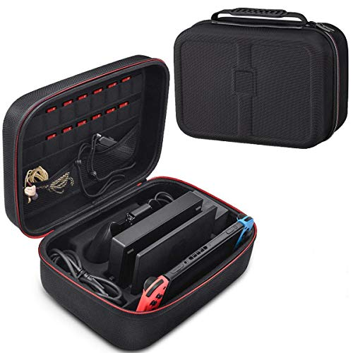 LYCEBELL Carrying Storage Case for Nintendo Switch, Black Portable Travel Case for Nintendo Switch Console Pro Controller & Accessories with Shoulder Girdle