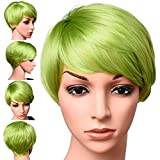 Short Lime Green Color Pixie Cut Hair Wig 100% Kanekalon Fiber Cosplay Daily Party Lime Synthetic Wig for Women 6 inches (LIME)