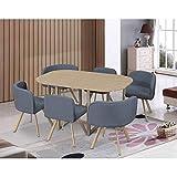 Ensemble Table + 6 chaises encastrables Grises Mosaic XL