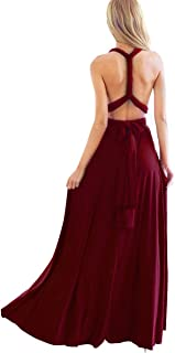 Women Transformer Evening Long Prom Dress Multi-Way Wrap Convertible Floor Length Wedding Halter Maxi Gown High Elasticity