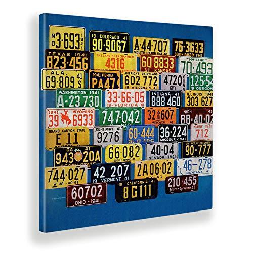 Giallobus - Pintura - Artists Saturday Evening - License Plates - Tela Canvas - 100x100 - Vintage - America - Años 50 - Listo para Colgar