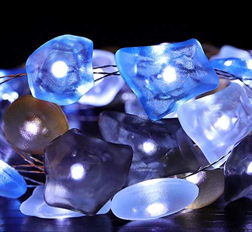 40 LED 4 M Ocean Stone Shape String Lights Luces decorativas LED Navidad con pilas Cadena luces interior al aire libre fiesta cumpleaños decoración lámpara con control remoto