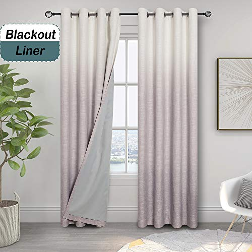 Ombre 85% Blackout Room Darkening Window Curtains for Bedroom Noise Reducing Heavy Linen Texture 8 Grommets Top Gradient Print Cream White to Lavender Purple Curtain for Living Room 50' x 84', 1 Piece