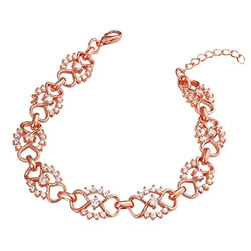 Yingbo Incantevole bracciale catena fiore rosa placcato oro rosa incantevole per le signore delle donne delle donne regalo di Natale di nozze