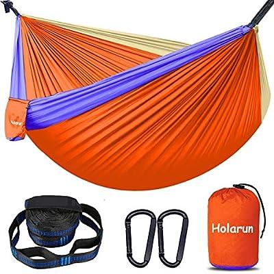 Holarun Hammock, Double Camping Hammock for 2 Adult Lightweight Parachute Hammock with Tree Straps (16+2 Loops)& Carabiners, Portable Nylon Hammock for Kid, Backpacking, Hiking, Yard Garden, Travel