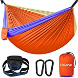 Holarun Double Hammock, Camping Hammock for 2 Adult Lightweight Parachute Hammock with Tree Straps (16+2 Loops)& Carabiners, Portable Nylon Hammock for Kid, Backpacking, Hiking, Yard Garden, Travel
