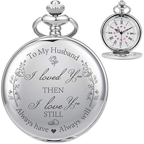 ManChDa Personalisierte Gravierte Taschenuhr Ehemann Geschenk, Vintage Taschenuhren Mit Kette Für Männer, Geburtstagsgeschenk, Schöne Geschenke Für Die Familie