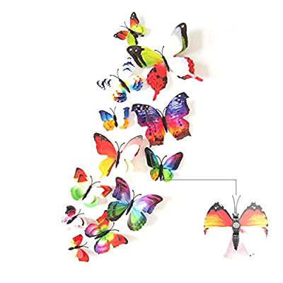 2017 The Latest Upgrade 3D Double-Deck Butterfly Wall Stickers Decor Art Decorations With Magnet?Sponge Gum And Pin 12 Pack