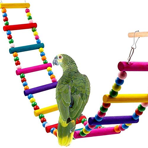 Back PackersColor pet loro escalada perlas de madera que suben la escala de escalera columpio mordedura estación de juguete barra de soporte (4 º orden de 30 cm)