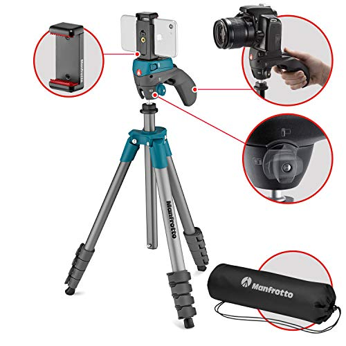 Manfrotto Compact Action statief, Compact Action Smart blauw (incl. smartphone houder), blauw