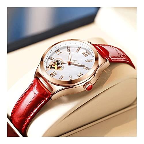 Reloj De Mujer Reloj Mecánico para Mujer Cinturón De Cuero Resistente Al Agua Movimiento Mecánico Hueco Caja De Acero Inoxidable Función Luminosa Espejo De Cristal De Alta Dureza (Color : Red)