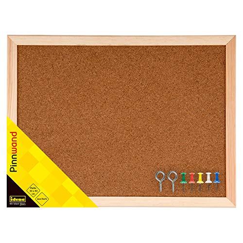Idena 568021 Pinnwand, mit Holzrahmen, inklusive 2 Schrauben und 5 Pinnwandnadeln, 30 x 40 cm, 568021
