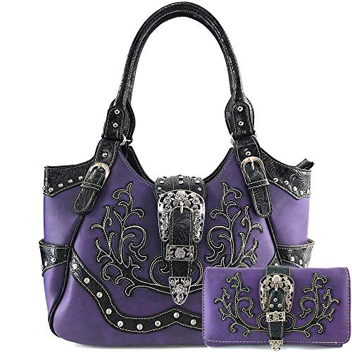 Justin West American Albino Floral Embroidery Buckle Shoulder Concealed Carry Handbag Purse (Purple Purse and Wallet Set)