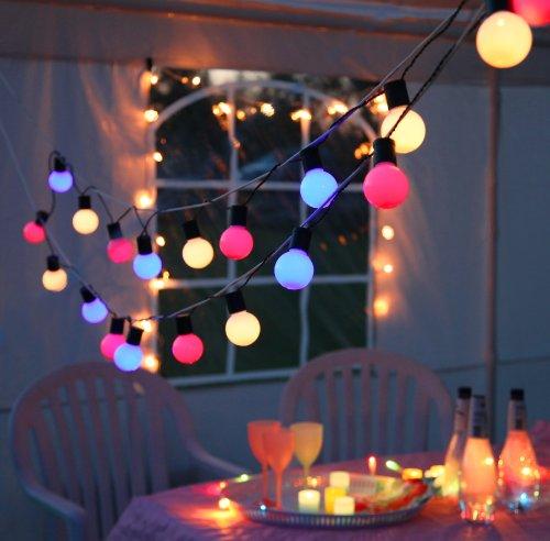 Kamaca Outdoor Lichterkette Gesamtlänge über 10 Meter Garten Party XL Lichterkette mit 20 Lampen BUNT inklusive Außen-Trafo für den Innen und Aussen