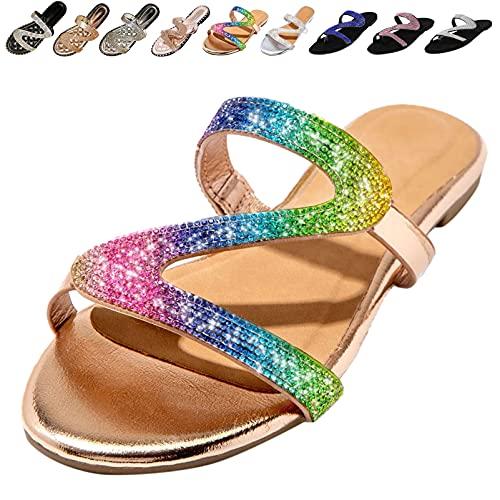Cuidado Sandales Femmes Plates Strass Chaussures Femme...