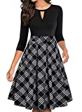YATHON Women's Business Retro Pocket Black Plaid Swing Casual Dress Chic V Neck Prom Evening Fit and Flare Dress for Winter Party Holiday (L, YT018-Black Plaid-3/4)