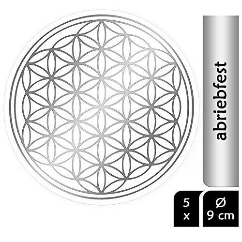 atalantes spirit Blume des Lebens Aufkleber 9cm, 5 Stück Abriebfest - Farbe Silber - Folie transparent Sticker Lebensblume