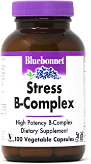 Bluebonnet Nutrition Stress B Complex Vegetable Capsules, Vitamin B6, B12, Biotin, Folate, Stress Relief, Vegan, Vegetaria...