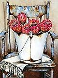 5D Kit De Pintura De Diamante Para Manualidades_Silla Flor Diamond Painting 40x50cm_bordado cuadros de punto de cruz suministros de arte manualidades lienzo para el hogar Decoración de Pared Regalo