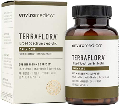 Enviromedica Terraflora Synbiotic SBO Supplement - a Spore Form Probiotic and Prebiotic Soil-Based Organism formulated for Robust Support of Gut Health (60ct)