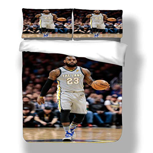 Duvet Cover Set LeBron Los Angeles Basketball Player 23 Bedding King James Lakers Super Star Game Clock Double Pump Quilt Coverlet with 2 Pillow Shams Cleveland Miami Cavaliers Heat