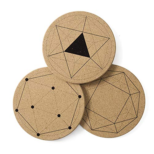 Cork Pot Pads Round Trivets Set with patterns for Hot Pots and Pans Hot Pads for Baking Kitchen Trivet