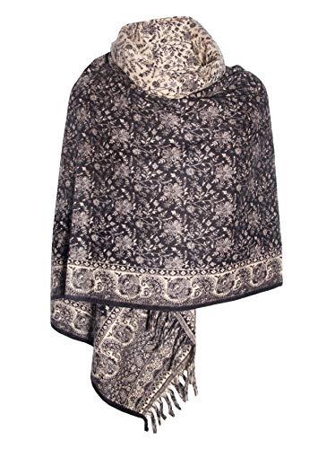 Sciarpa invernale con motivo floreale, in pura lana di Yak, decorazione per scialle e scialle, unisex, taglia unica, doppia e lussuosa sciarpa regalo