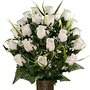 Sympathy Silks Artificial Cemetery Flowers – Realistic – Outdoor Grave Decorations – White Roses with Lily Grass