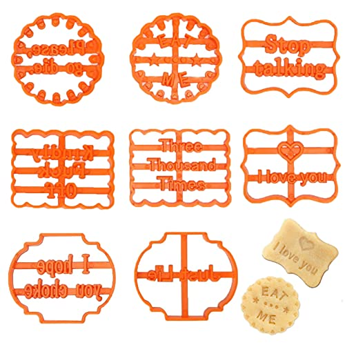 8PCS Funny Cookie Cutters for Adult with Good Wishes, Fun Cookie Molds Form with Saying Mean Words and Irreverent Phrases, Shapes Biscuit Cutters Set for Kitchen Baking