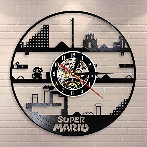 Diseño Reloj Clásico Juego nostálgico Disco de vinilo Reloj de pared Lámpara de pared Reloj de pared 3D Reloj de tiempo Reloj de pared creativo Amante de los juegos | Reloj disco de vinilo retro